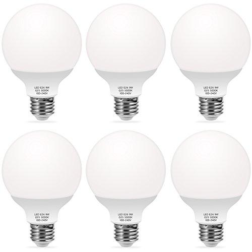 TechgoMade G25 Globe LED Light Bulbs, 60W Equivalent Vanity Light Bulbs, Daylight Bulb 5000K, Bathroom Vanity Mirror Lighting, for Home Lighting, Kitchen Dining Room Light, Table Lamp, 6 Pack