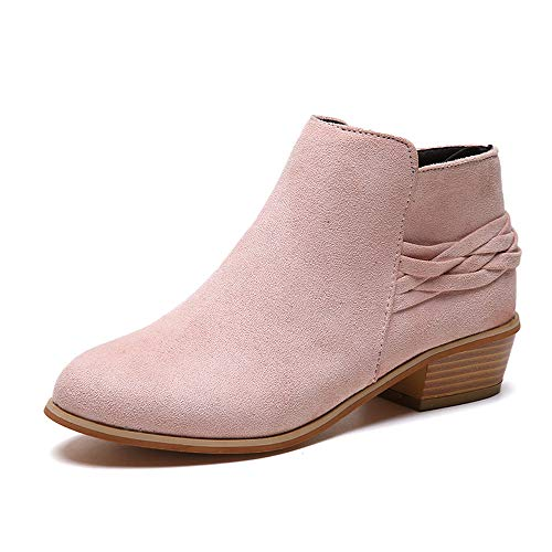 Sunmoot Suede Ankle Bootie Women Square Heel Knitted Zipper Round Toe Flock Solid Shoes Pink