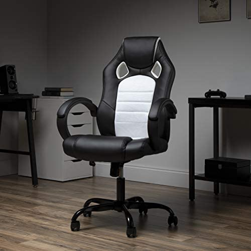 OFM Gaming Chair, Padded Loop Arms, High-Back, White