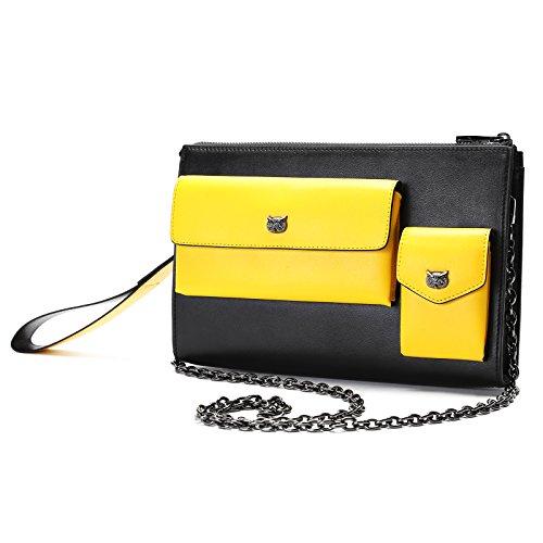 Women Large Capacity Luxury Genuine Leather Crossbody Shoulder Bag Fashion Trend Chain Purse Handbag Perfect Gift for - Clear Mk Bag