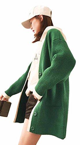 MengFan レディース ロングカーディガン 春 ロングコート 無地 シンプル ニットコート トップス ゆったり カジュアル アウター 韓国風 ファッション 女性用