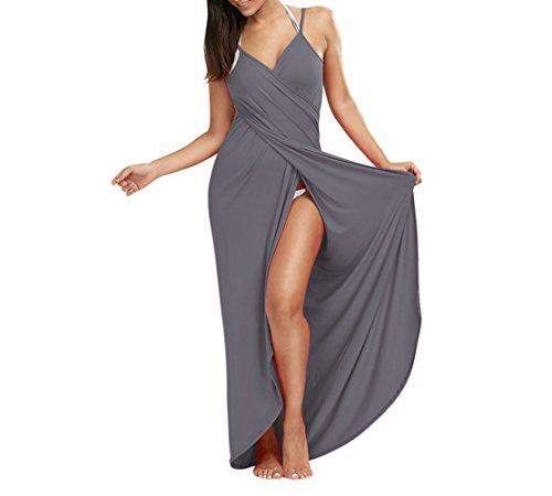 (Lkous Women's Spaghetti Strap Backless Beach Dress Bikini Cover Up,X-Large,  Gray)