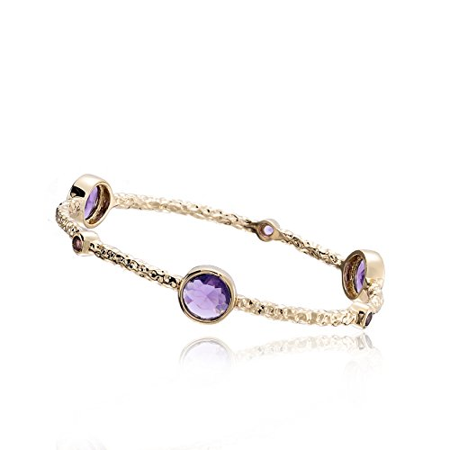 Riccova Arctic Mist 14k Gold-Plated Hammered Bangle With Lavender Round Stones 60 mm
