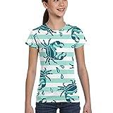 L6Nv4o@A Girls Short Sleeve Stripe Crab White Crab T-Shirts, Casual Tunic Shirt Dress, XS-XL