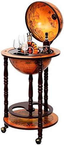 Eminentshop 36″ Wood Globe Wine Bar Stand 16th Century Italian Rack Liquor Bottle Shelf New