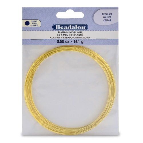 Beadalon 347A-150 Gold Plated Memory Wire Necklace-1/2-Ounce/Pkg, Approx 18 Loops