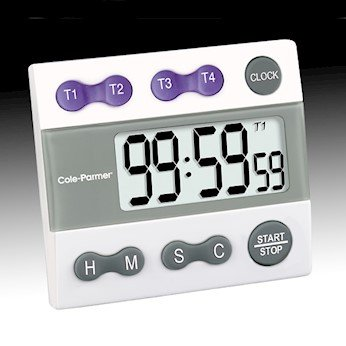 Cole-Parmer four-channel, jumbo display clock/timer