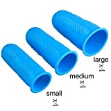Silicone Finger Protector Covers Caps Heat Resistant Finger Tip Protectors for Hot Glue, Wax, Crafts, Ironing, Sewing, Embroidery, Cross Stitch Finger Guards in 3 Sizes (Small, Medium, Large) -12 Pieces