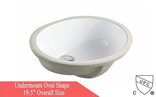 Oval Bath Sink (ARIEL 19.5 Inch Oval Undermount Vitreous Ceramic Lavatory Vanity Bathroom Sink Pure White)