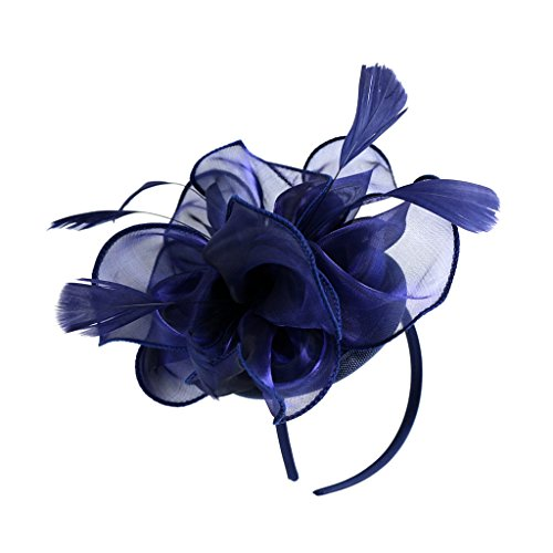 MonkeyJack Wedding Fascinator Hat Women Feather Flower Hair Band Church Tea Party Headdress - Navy Blue