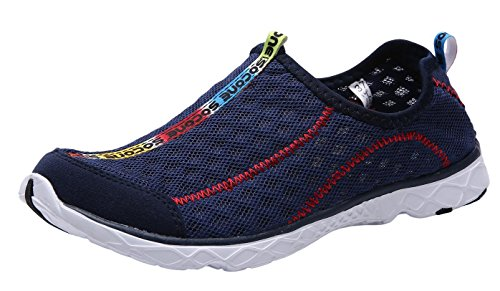 UJoowalk Womens Casual Lightweight Comfortable Quick Drying Althletic Walking Shoes Slip on Water Shoes (7 B(M) US, Dark Blue)
