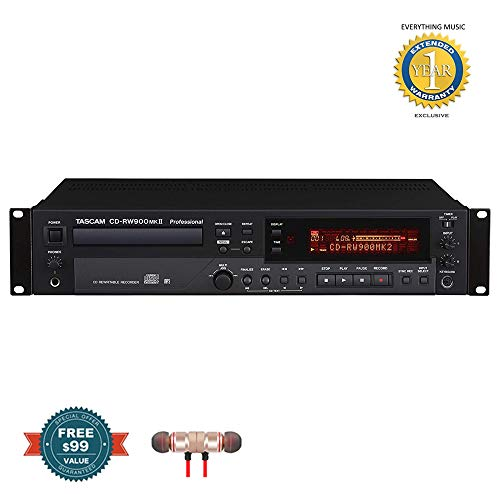 (Tascam CD-RW900MKII Professional Rackmount CD Recorder/Player includes Free Wireless Earbuds - Stereo Bluetooth In-ear and 1 Year Everything Music Extended Warranty)