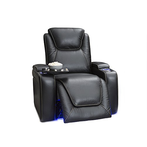 Seatcraft Equinox Home Theater Seating - Leather - Power Recliner - Adjustable Power Headrest - Adjustable Powered Lumbar Support - USB Charging - Storage - SoundShaker - Lighted Cup Holders - Leather Recliner Theater Home