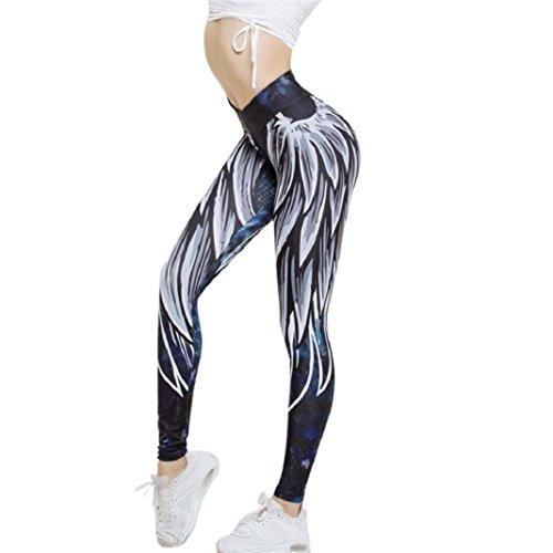 ShenPr Women Sports Gym Yoga Workout High Waist Wing Print Yoga Sport Running Pants Fitness Elastic Leggings (Blue, M) (Print Sequin Leggings)