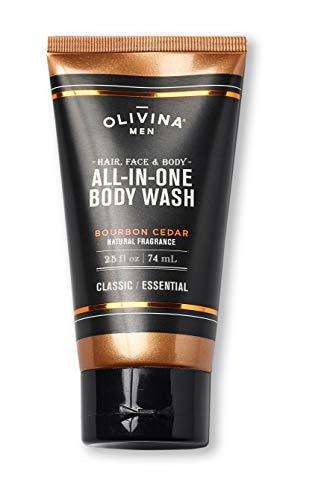 Olivina Men Hair, Face & Body All-in-One Wash, Bourbon Cedar, 2.5 Fl. Oz.