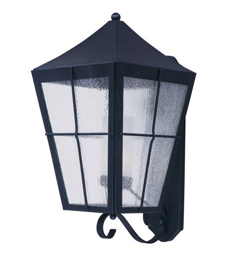 Maxim 85338CDFTBK Revere 1-Light Outdoor Wall Lantern, Black Finish, Seedy/Frosted Glass, GU24 Fluorescent Fluorescent Bulb , 26W Max., Wet Safety Rating, 2700K Color Temp, Glass Shade Material, 1760 Rated Lumens