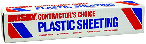 POLY-AMERICA (20'x100') Husky Contractor's Choice Black Plastic Sheeting 10 Mil. Thickness (CF1020) Polyethylene Plastic BEST FOR Overspray Shield, Vapor Barrier at Construction or Home -