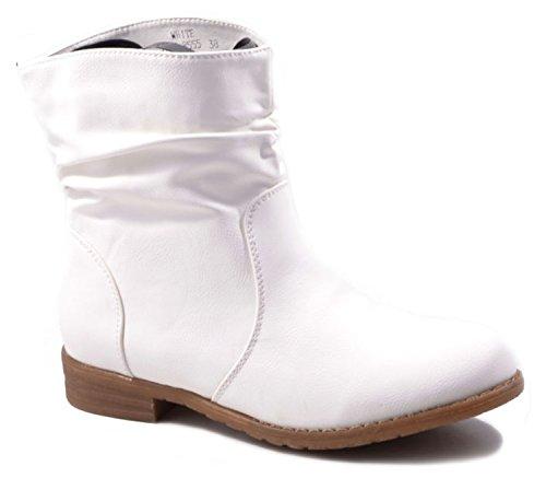 King Of Shoes Trendige Damen Stiefeletten Cowboy Western Stiefel Boots Schuhe 86HP Weiß