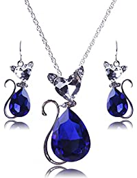 Vogue Silver Plated Red Pear Crystal Cat Pendant Chain Necklace Earrings Jewelry Set