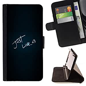 DEVIL CASE - FOR HTC Desire 820 - Just Like Love Heart Neon Text Black - Style PU Leather Case Wallet Flip Stand Flap Closure Cover