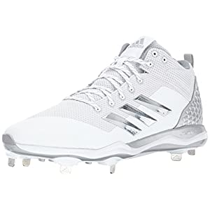 adidas Originals Men's Freak X Carbon Mid Baseball Shoe, White, Silver Met, Light Grey, 10 M US