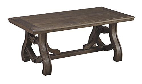 (Ashley Furniture Signature Design - Tanobay Traditional Rectangular Cocktail Table - Gray)
