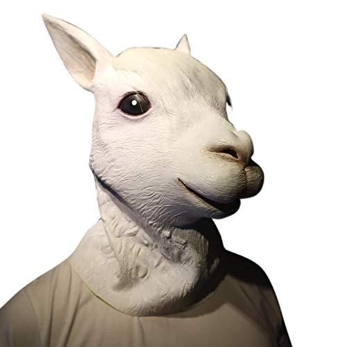 Lywey Halloween Head Costume, Novelty Terror Lifelike Party Props Latex Animal Head Sounding Funny Mask (Alpaca)