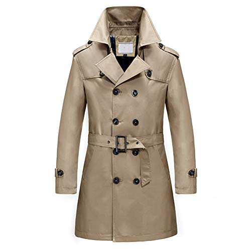 Men's Classic Fit Trench Coat Long Double Breasted Overcoat Outerwear Pea Coat -