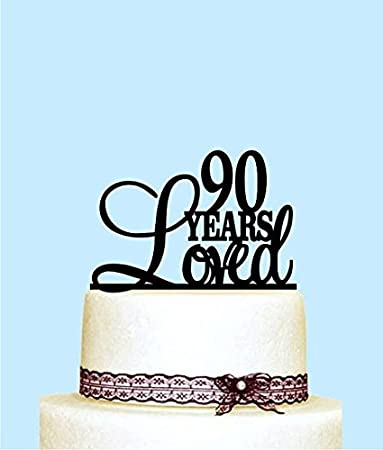 90 Years Loved Cake Topper 90th Birthday Decorations Happy