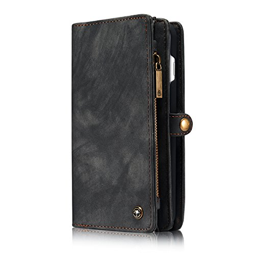 ZARO Wallet Case for iphone 7 with Card Holder Phone Purse, Detachable Magnetic Portable Folio Flip Cover PU Leather Pouch Zipper Bag Protective Shell for Girls Women Men - Black