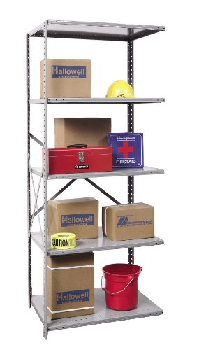 - Hallowell A7510-18HG Extra Heavy-Duty Open Hi-Tech Shelving Add-On Unit with 5 Shelves, Hallowell Gray Steel, 36