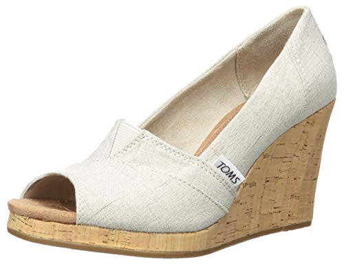 TOMS Women's Classic Espadrille Wedge Sandal, Natural Crosshatch Jacquard, 8.5 B Medium US -