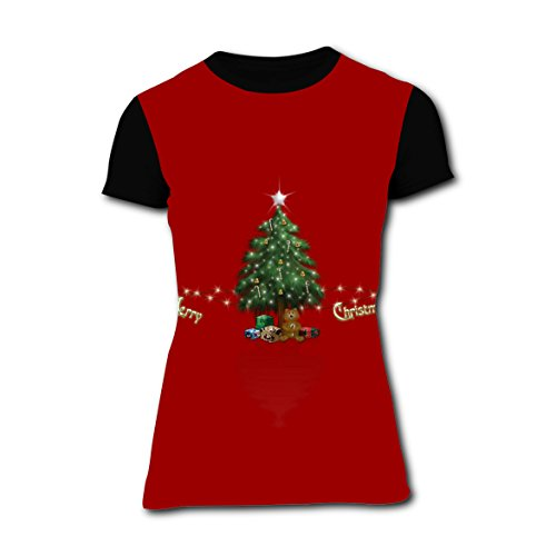 Christmas Tree In Red Background 3D Graphic Fashion Printed Women's T-Shirts Stylish Casual Short Sleeve Tees (Cutting Christmas Games Tree)