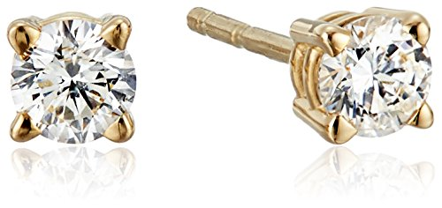 IGI Certified 18k Yellow Gold, Round-Cut, Diamond 4-Prong Studs (1/4 cttw, H-I Color, SI1-SI2 Clarity)
