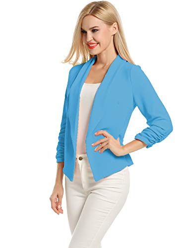 Women's Casual Work Solid Color Knit Blazer Structured Cardigan (Deep Sky Blue, XL)