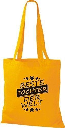 ShirtInStyle Bolso de tela Bolsa de algodón Mejor TOCHTER der Welt amarillo dorado