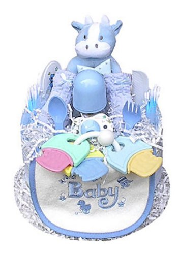 Babygiftidea Boy's Blue 1 Tier Shower Centerpiece Diaper Cake by Baby Gift Idea
