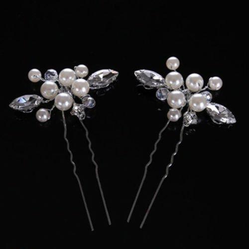 FlyerShop(TM) Fashion Golden Wedding Bridal Pearl Flower Leaves Crystal Hair Pins Clips (Wire Leaf Fashion Pin)