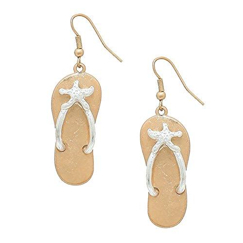 Liavy's Two Tone Starfish Flip-Flop Sandals Fashionable Metal Earrings - Fish Hook - Silver Starfish ()