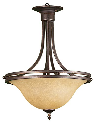 HOMEnhancements- Austin Three Light Bowl Entry Fixture- Oil Rubbed Bronze Finish- Tea Stained Glass- 24