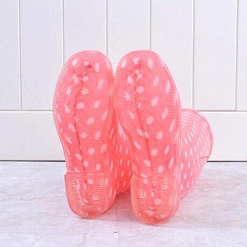 hibote Mujeres Botas de lluvia Femenino Original Tall Agua Caliente Señora Zapatos Antiskid Rubber Galoshes Punto rosa