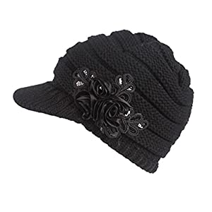 Women Ladies Winter Knitting Hat Warm Artificial Wool Snow Ski Caps With Visor
