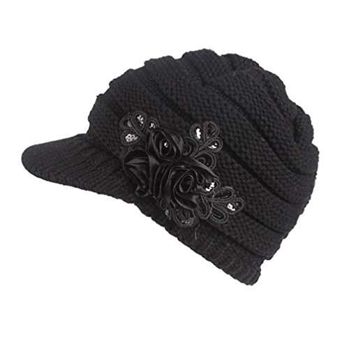 Women Ladies Winter Knitting Hat Warm Artificial Wool Snow Ski Caps With Visor (Black) (Knitting Hat Ski)