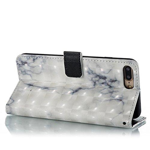 iPhone 7 Plus Coque marbre blanc Portefeuille Fermoir Magnétique Supporter Flip Téléphone Protection Housse Case Étui Pour Apple iPhone 7 Plus + Deux cadeau