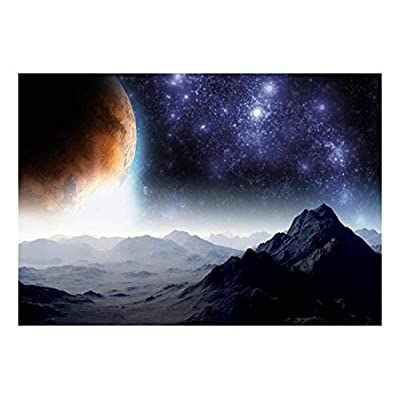 Gloomy Space Mountains with a Background of a Planet Wall Mural