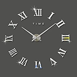 DIY Wall Clock Silent 3D Acrylic Sticker Roman Numbers Adhesive Modern Art Wall Clock Parts Kit Home Decorations for Office Living Room Bedroom (silver)