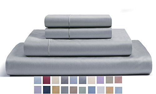 CHATEAU HOME COLLECTION 800-Thread-Count Egyptian Cotton Deep Pocket Sateen Weave King Sheet Set, Silver
