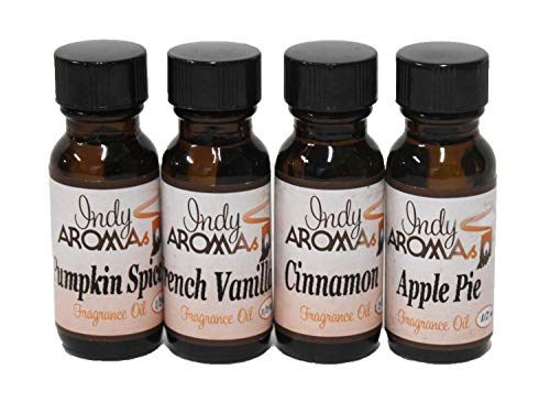 Scented Aromatherapy Fragrance Oils 1/2 oz 4 Pack Set - Baking Collection Scents French Vanilla, Cinnamon, Pumpkin Spice, and Apple Pie - Great Value Pack Gift