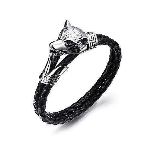EV.YI Jewels Punk Leather Braided Bracelet with Black Panther and Crown Pendant Stylish Gift for Men Women