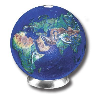 - Blue Earth Marble With Natural Earth Continents, Recycled Glass By Shasta Vis...